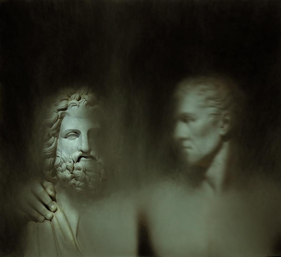 """""""Pietra: #2 - Giovanni Ceccarini, Antonio Canova sedente in atto di abbracciare l'erma fidiaca di Giove"""""""